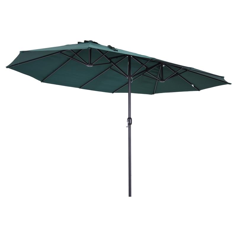 parasol met zwengel tuinparasol dubbele marktparasol 460 x 270 cm donkergroen