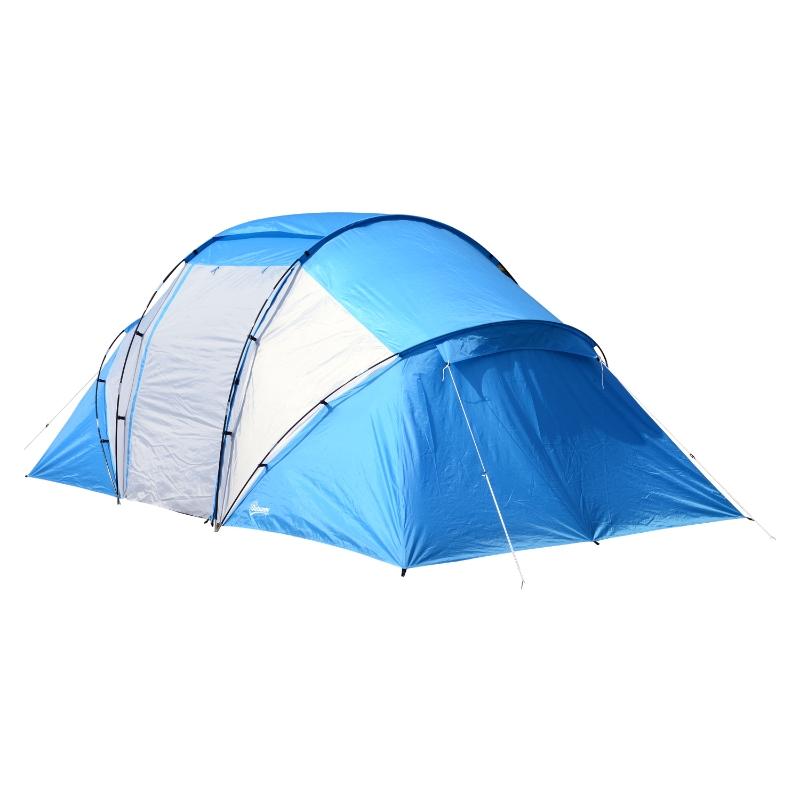 Campingtent met 2 slaapcabines, familietent, tunneltent, 4-6 personen, blauw