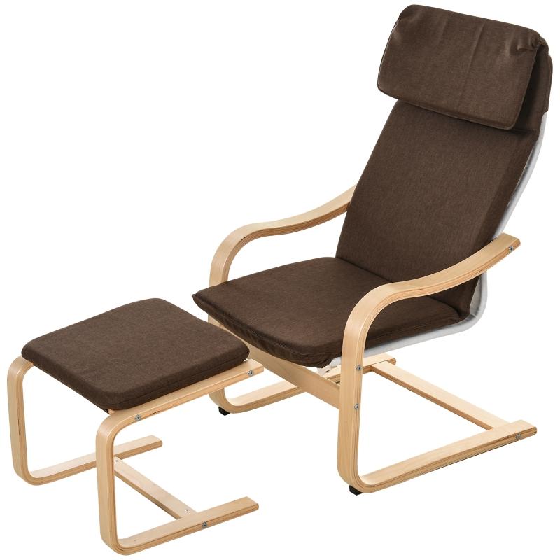HOMCOM relaxstoel met poef, stoel met armsteunen linnen bekleding houten frame bruin