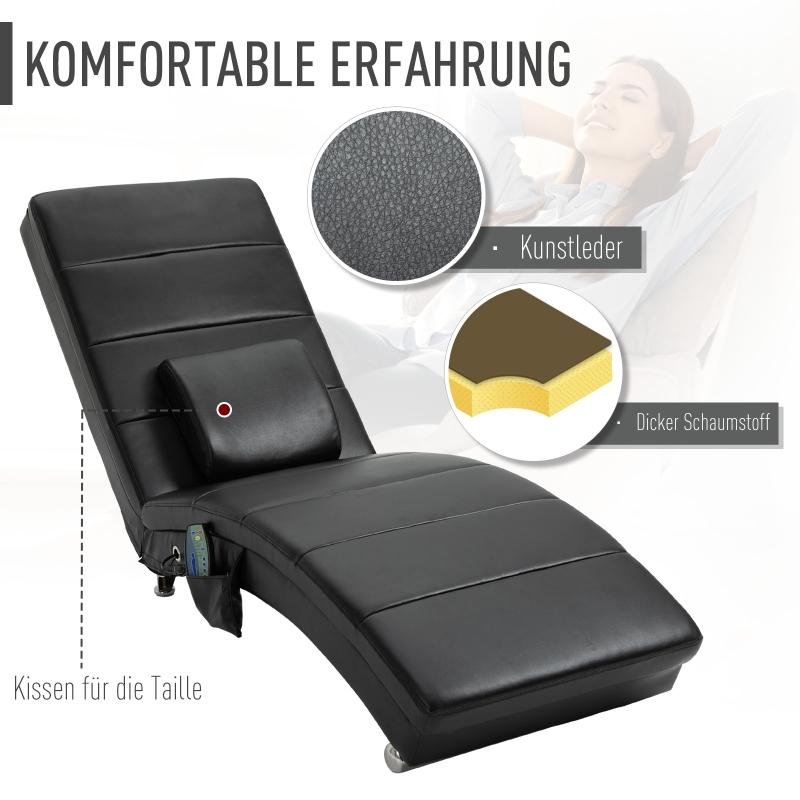 HOMCOM relaxfauteuil tv-stoel voor woonkamer loungestoel massage zwart