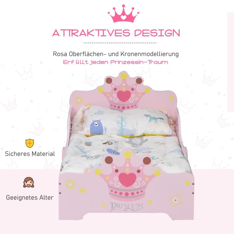 HOMCOM Kinderbett mit Prinzessinnen-Motiv mit Rausfallschutz für 3–6 Jahre, Mädchenbett, Holzbett für Kinderzimmer, Pappelholz, 143 x 73 x 60 cm