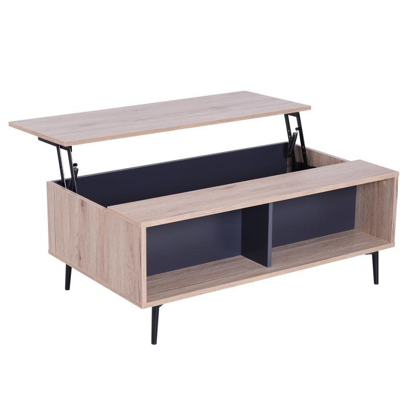 salontafel bijzettafel woonkamer tafelblad in hoogte verstelbaar grote opbergruimte