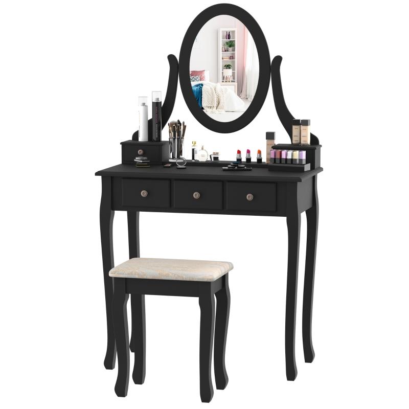 make-uptafel kaptafel kappen make-uptafel met spiegel krukje wit / zwart