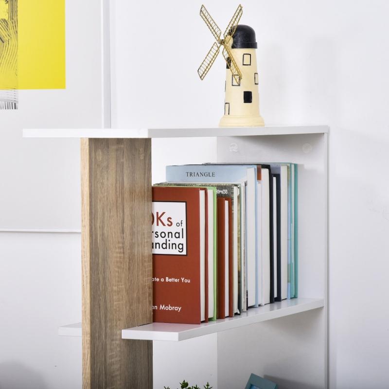 HOMCOM boekenplank vrijstaande stelling 4-niveaus kantoorplank opslagplank eiken + wit