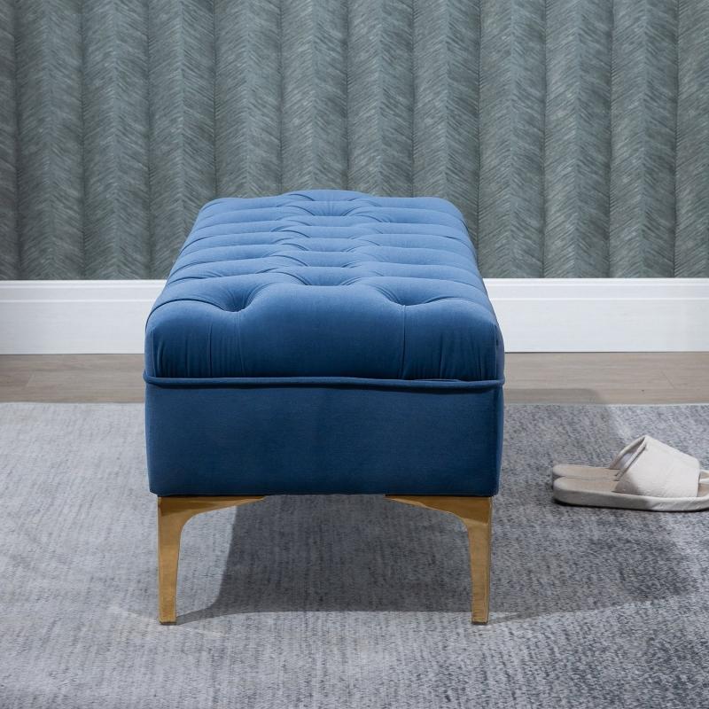 HOMCOM zitbank bedbank schoenenbank verhoogde poten fluweel blauw