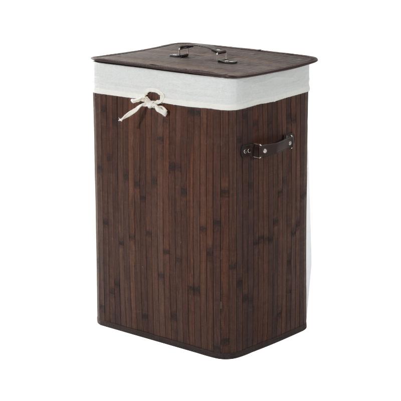 Wasmand waskist wasbox waskorf hoekig bamboe 72 l grijs