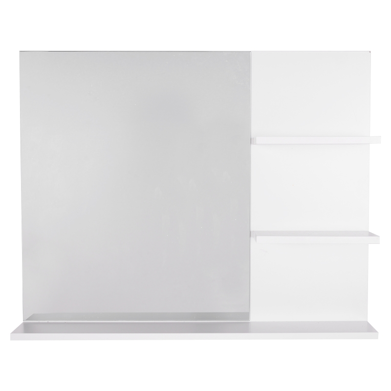 kleankin badkamerspiegel met 3 opbergruimtes wandspiegel spiegelplank badkamer MDF
