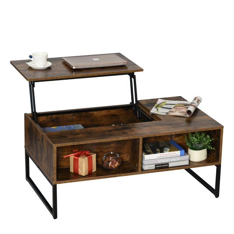 HOMCOM salontafel met in hoogte verstelbaar blad, spaanplaat bruin