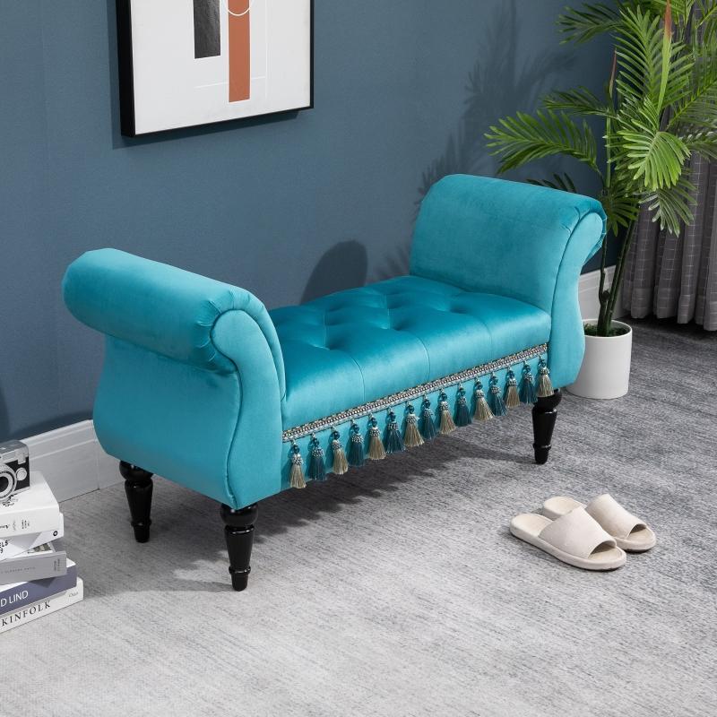 HOMCOM luxe zitbank gestoffeerde bank populierenhout rubber blauw