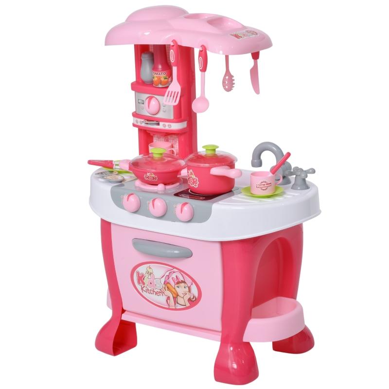 HOMCOM kinderkeuken met accesoires speelkeuken 38-delige speelgoedkeuken PP roze