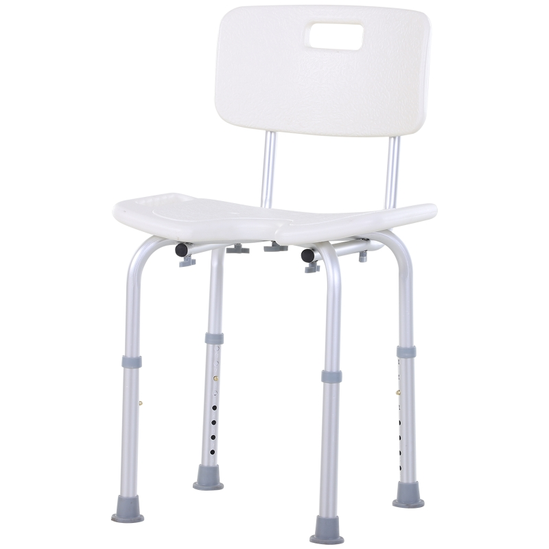 HOMCOM douchestoel badstoel met rugleuning in hoogte verstelbaar aluminiumlegering wit