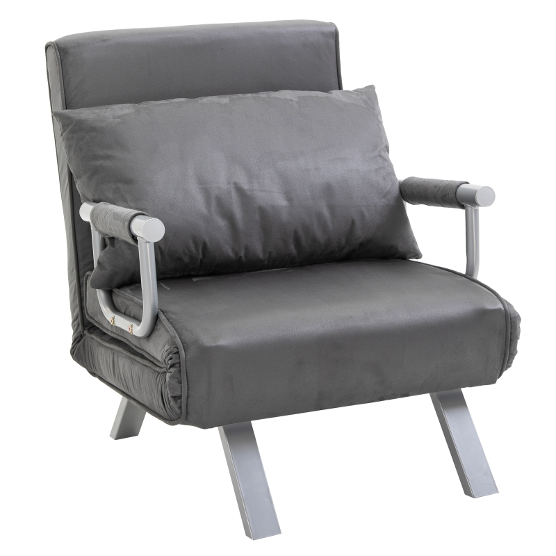 HOMCOM slaapbank met armleuningen slaapfauteuil logeerbed opklapbed chaise longue