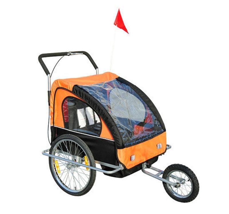 2-in-1 Jogger fietskar voor kinderen fietskar kinderen fietsaanhanger 5 kleuren met vlag