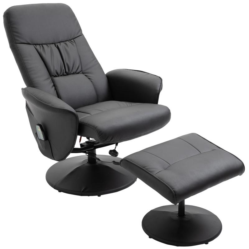 Massagestoel met voetenbank verwarmingsfunctie relaxstoel met 145° helling PU 2 kleuren