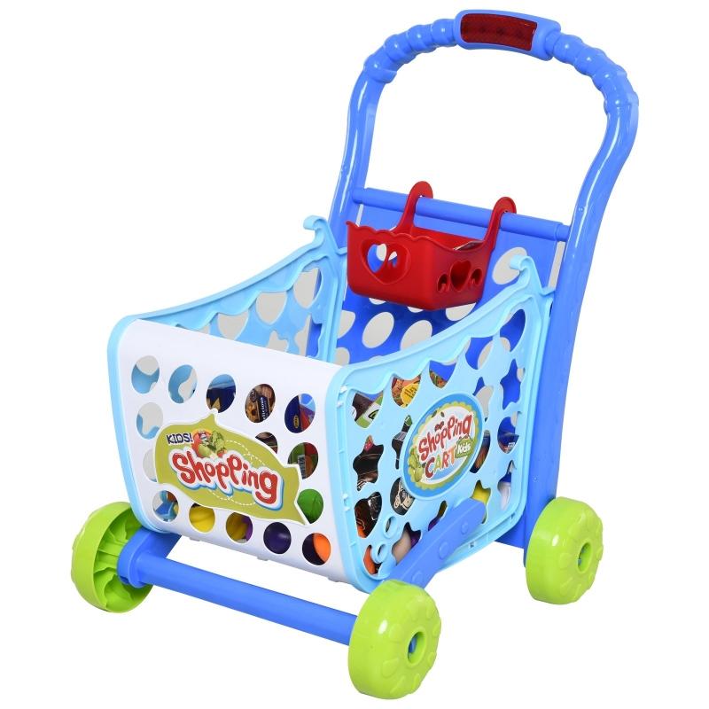 HOMCOM winkelwagentjes voor kinderen kinderspeelgoed winkel speelgoed kunststof blauw