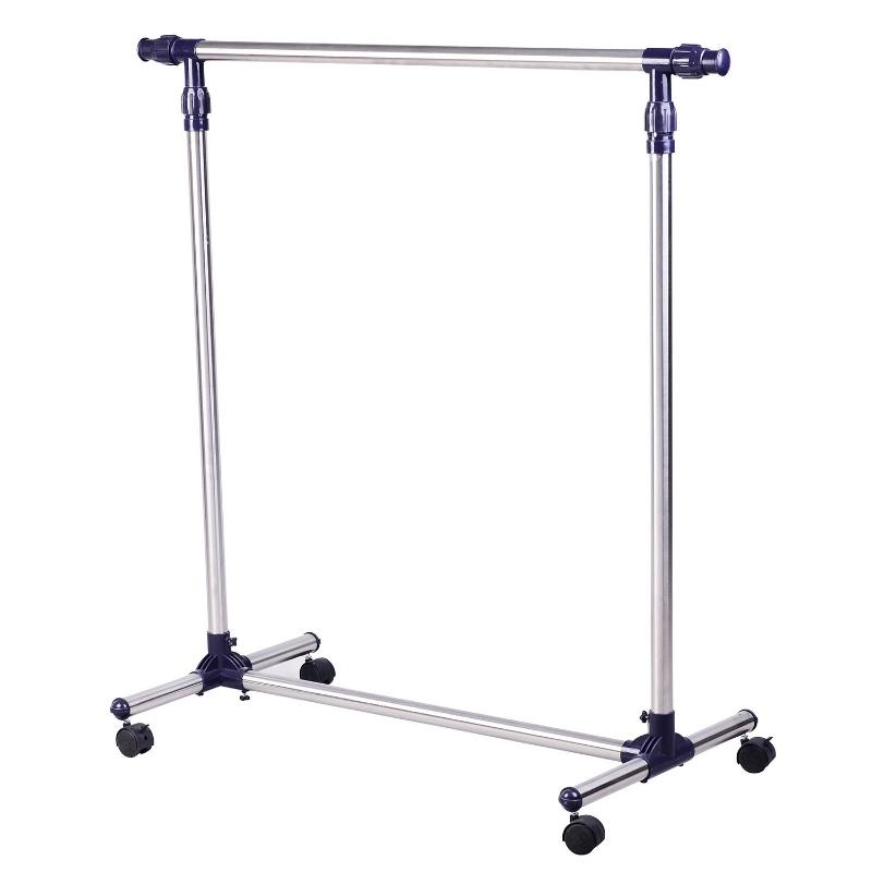 Garderobestandaard RVS kapstok oprolbaar in hoogte verstelbaar