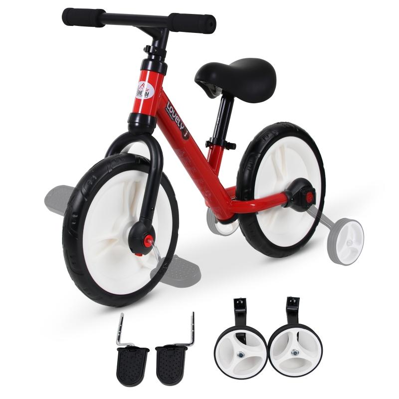 HOMCOM kinderloopfiets kinderfiets zijwielen pedalen 2-5 jaar PP rood