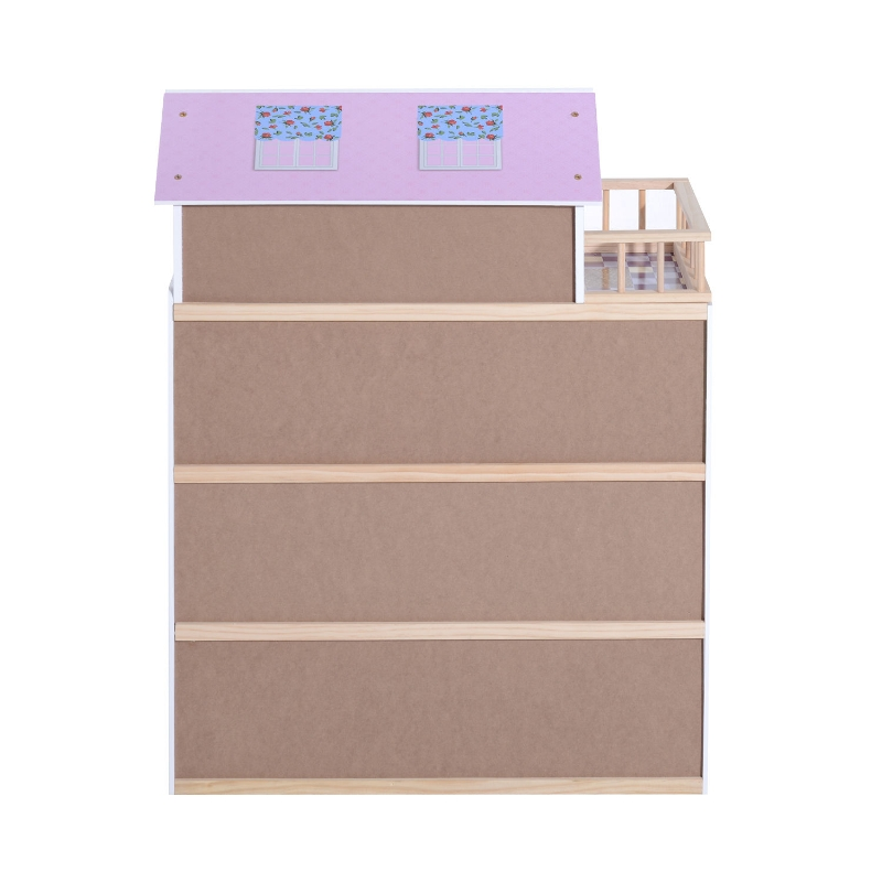 Kinderpoppenhuis poppenhuis barbiehuis 4 verdiepingen met meubels hout