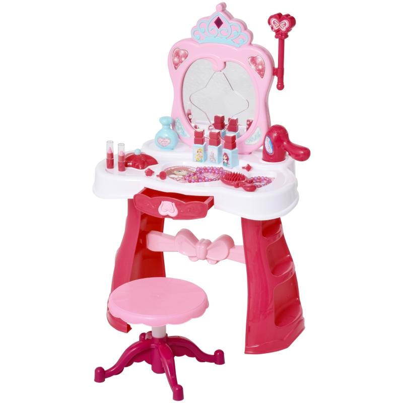 HOMCOM 2-Set Kinderschminktisch Frisiertisch Frisierkommodemit Hocker Musik Licht Mädchen Kosmetik Spiegel Infrarotsensor Rosa+Weiß 44x28x67 cm