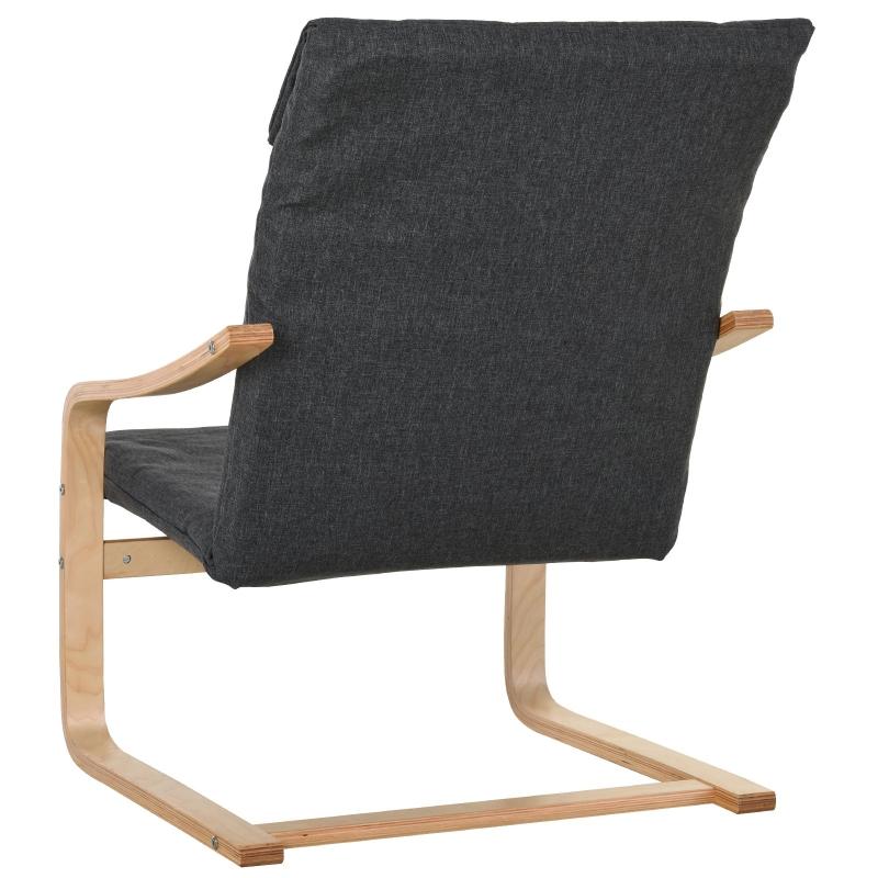 HOMCOM relaxstoel fauteuil met armleuning linnen bekleding houten frame grijs