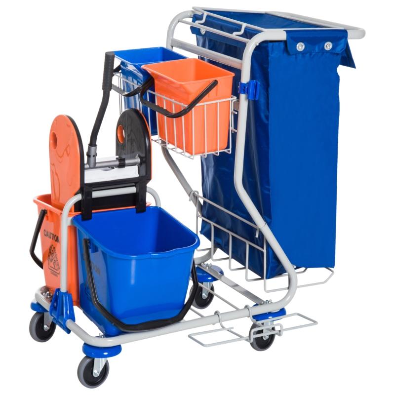 Schoonmaakwagen schoonmaaktrolley met wielen 4 verrijdbare emmers, dweilwagen, blauwe systeemwagen