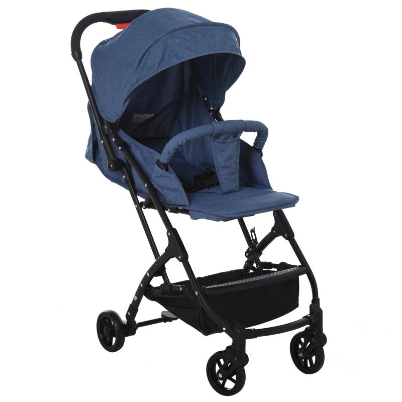 HOMCOM kinderwagen inklapbare buggy babyzitje babybedje 0-36 maanden blauw