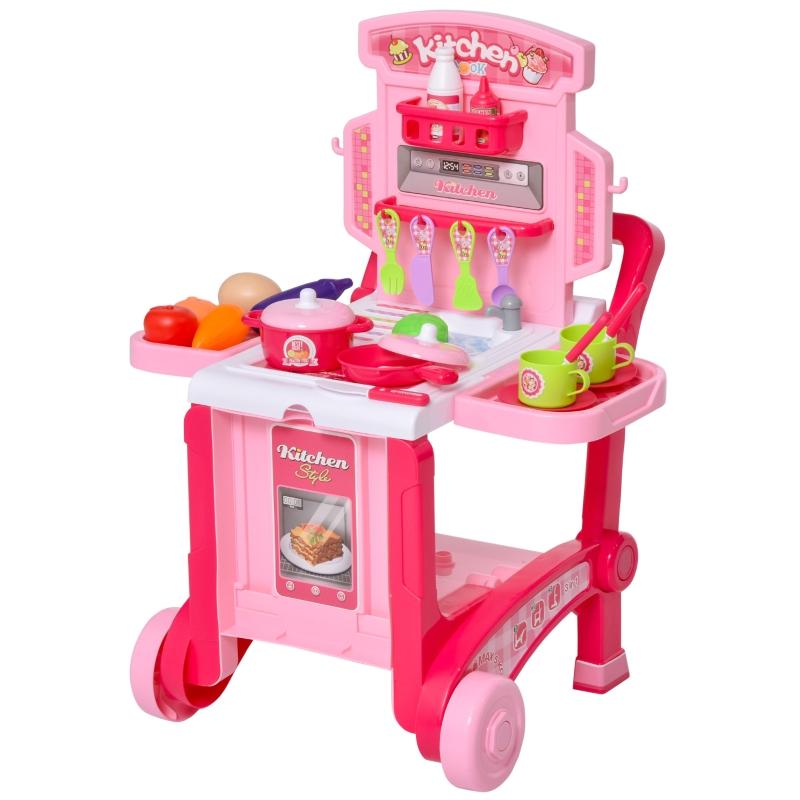 HOMCOM kinderkeuken met 42 accessoires speelkeuken speelgoed keuken plastic wit + roze