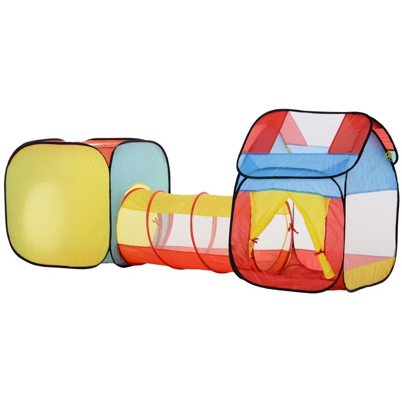 Pop-up kinderspeeltent 3-delige kindertent, babytent, tunnel, opvouwbaar polyester