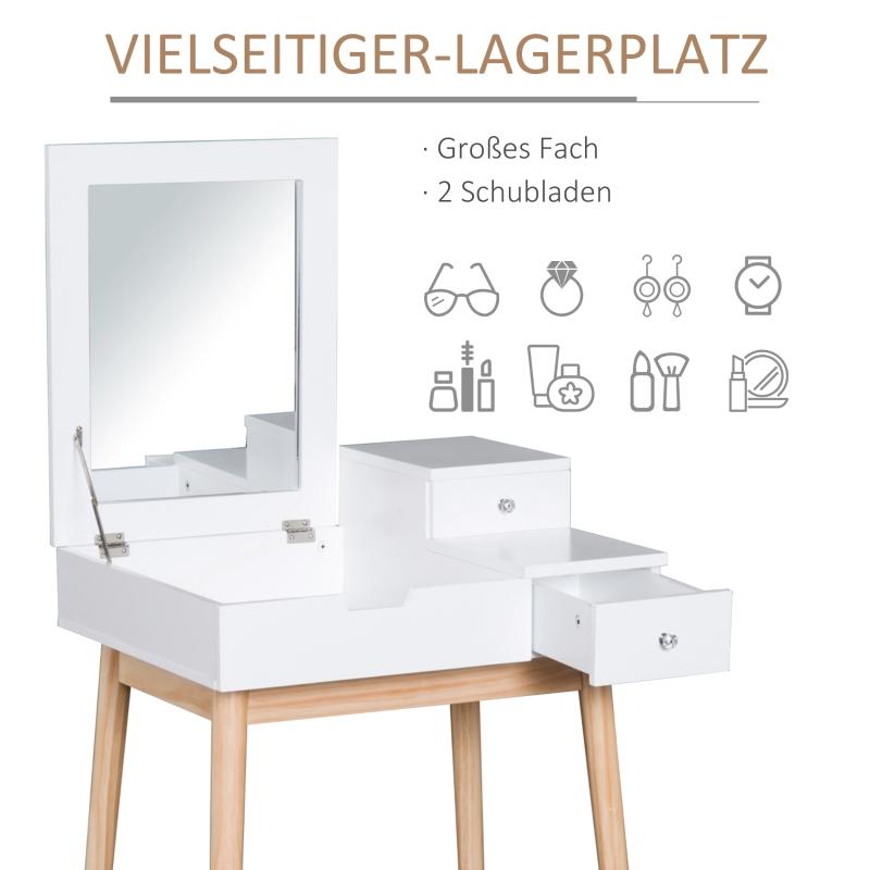 make-uptafel met inklapbare spiegel kaptafel toilettafel houten poten wit