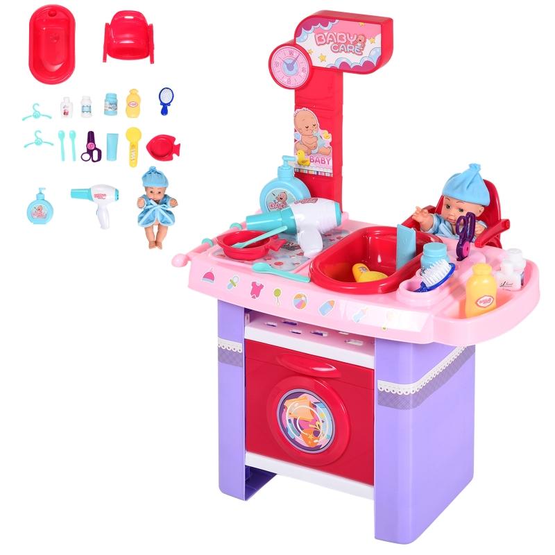 HOMCOM Puppenpflege-Station Spielcenter für Puppen mit Puppenstuhl Badewanne 28-Teilige Zubehör Rosa ab 3 Jahre 52x30,5x72 cm