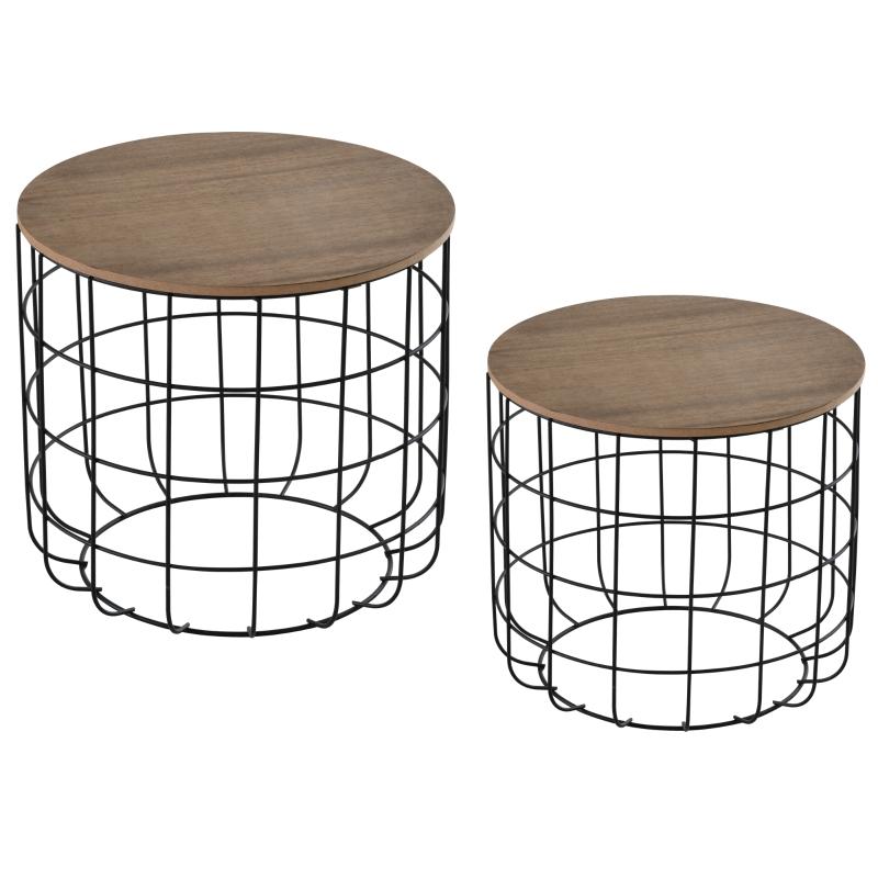HOMCOM bijzettafel tuin salontafel koffietafel set van 2 zwart + bruin metaal