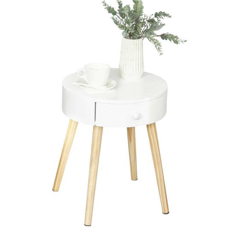 HOMCOM® Nachttisch runder Beistelltisch mit Schublade Beinen Skandinavisches Design Weiß