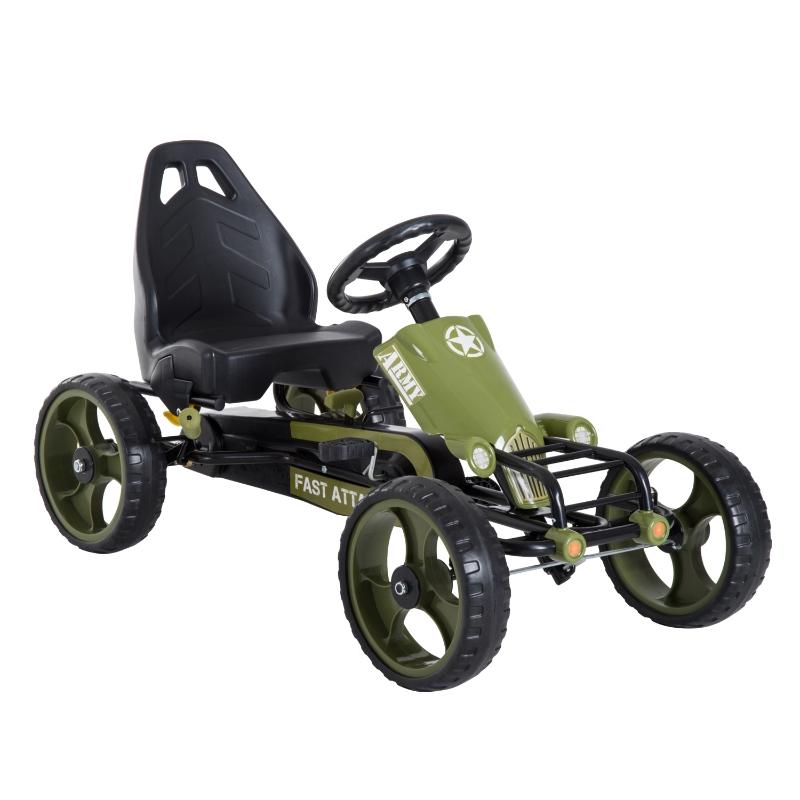 Skelter met handrem kinder trapauto Trapvoertuig vanaf 3 jaar groen