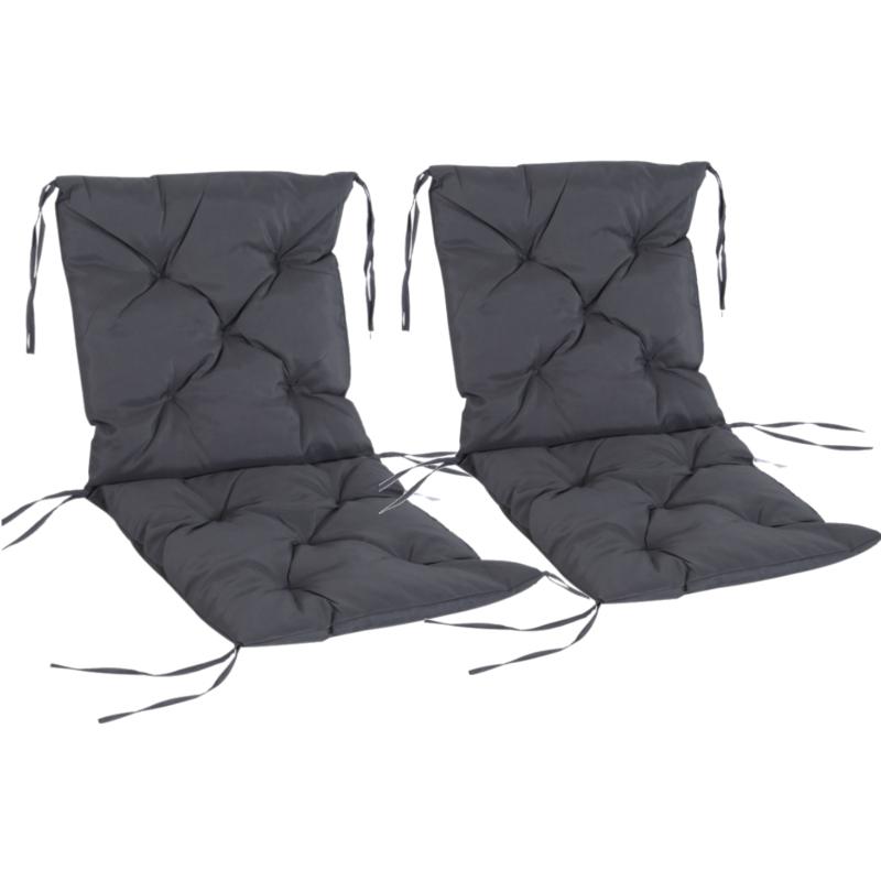 Set van 2 kussens voor stoelen met lage rugleuning stoelkussens zitkussens tuinkussens grijs