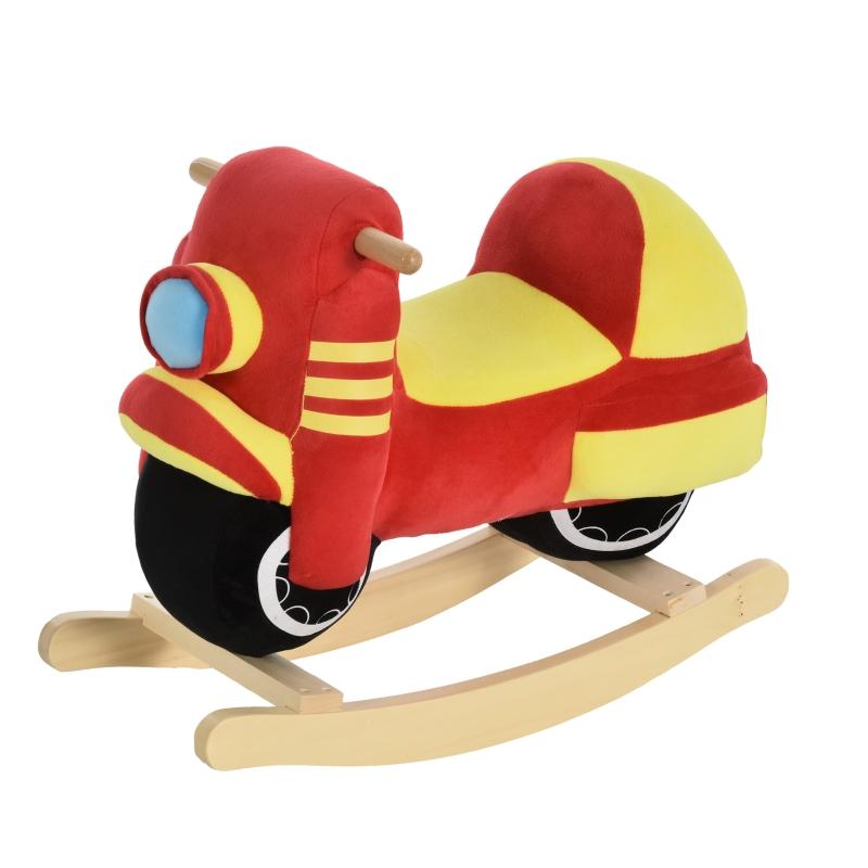 HOMCOM hobbelpaard voor kinderen schommeldier motorfiets 18-36 maanden rood + geel