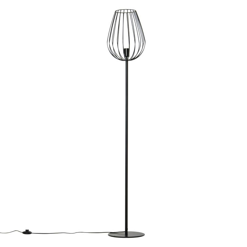 Staande lamp retro industrieel met metalen rooster kooi lampenkap & metalen voet