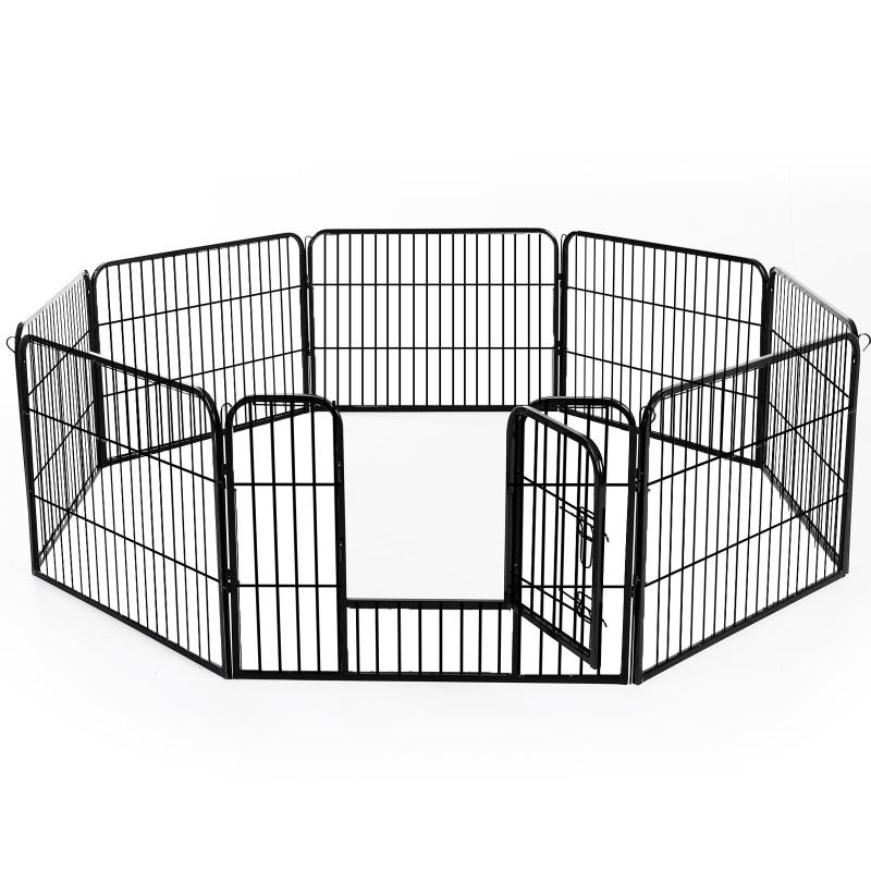 Puppy-uitloop ren buitenverblijf box puppy afrastering staal 2 groottes zwart