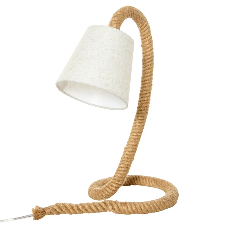 Tafellamp met E14 lampvoet henneptouwvoet linnenlook lampenkap modern
