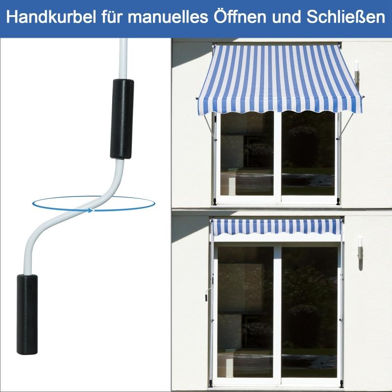 Markies knikarm knikarmmarkies zonwering handslinger balkon aluminium 2 x 1,5 m blauw