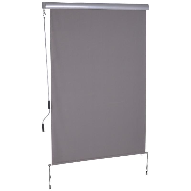Rolgordijn met handslinger raamrolgordijn wand-/ dakmontage UV50 + aluminium grijs 1,4 x 2 m