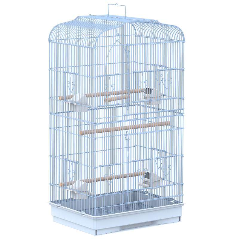 Vogelkooi volière vogelhuis metalen vogelhuis voor vogels met staander wit