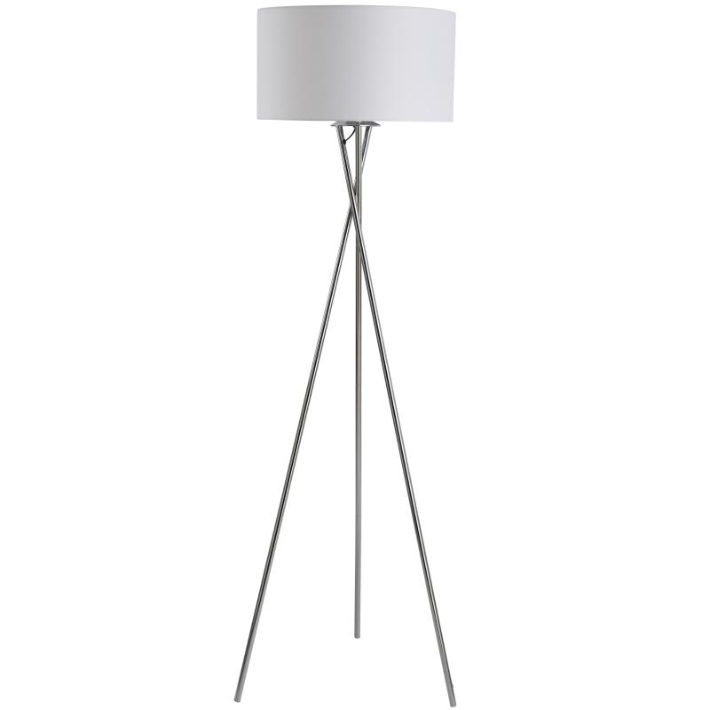 Vloerlamp staande lamp stoffen kap driedubbele metalen voet zilver + wit 48 x4 8 x 162