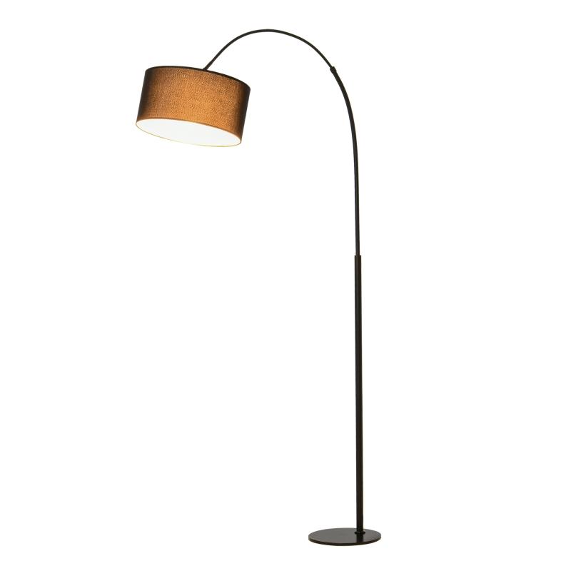 Vloerlamp 179 cm boog met lampenkap metaal ronde voet metaal polyesterweefsel