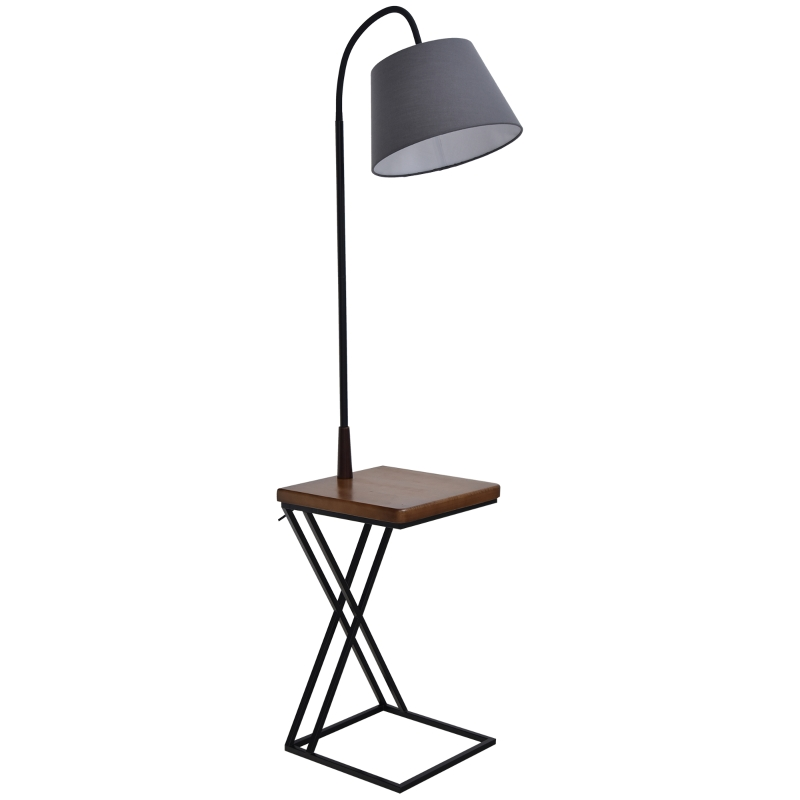 Vloerlamp staande lamp vloerlamp met opbergplank grenenhout 36 x 36 x 165 cm
