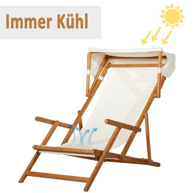 Ligstoel ligbank voor buiten ligbed relaxstoel verstelbaar met zonnedak acacia
