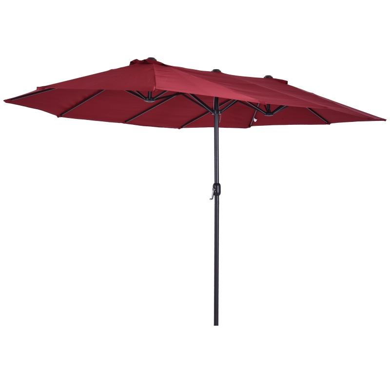 parasol met zwengel tuinparasol dubbele marktparasol 460 x 270 cm wijnrood