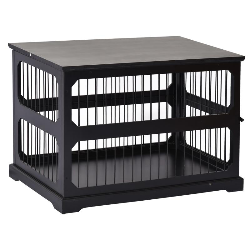 Hondenkooi dierenkooi gemaakt van MDF en metaal hondenbox moderne stijl zwart