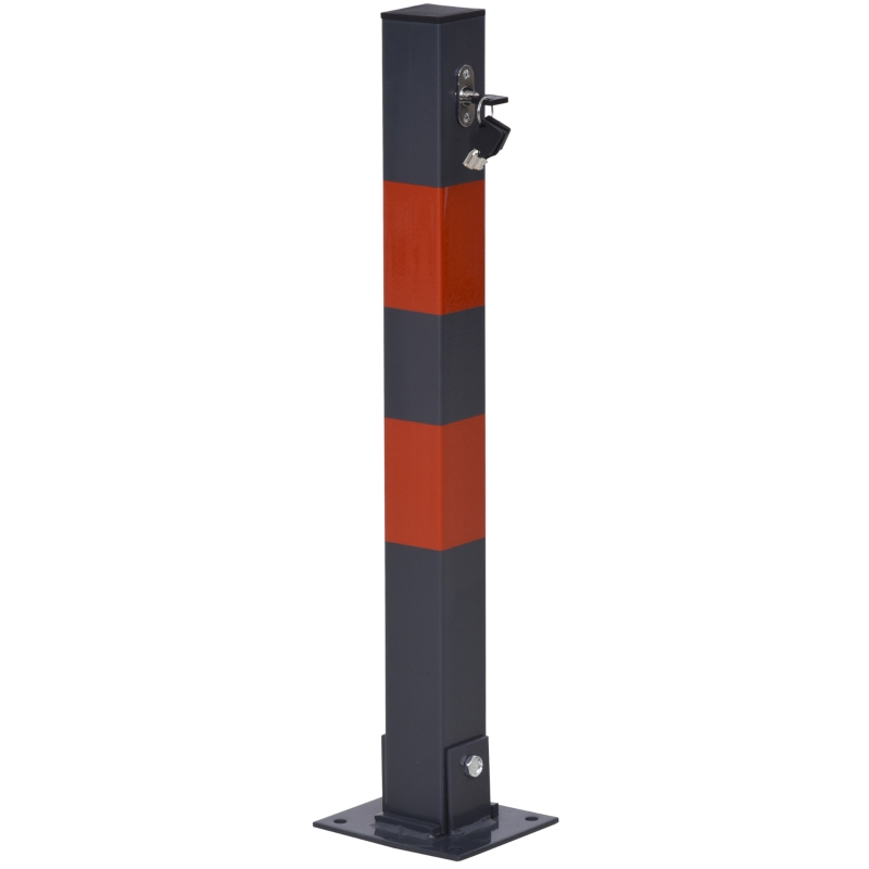 Parkeerslot inklapbare parkeerpaal met rode waarschuwingsstrepen 3 sleutels staal