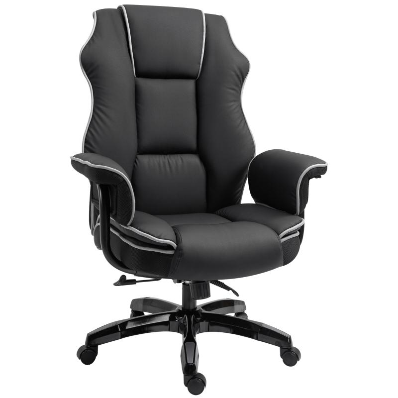 Ergonomische kantoorstoel met kantelfunctie draaistoel in hoogte verstelbaar kunstleer