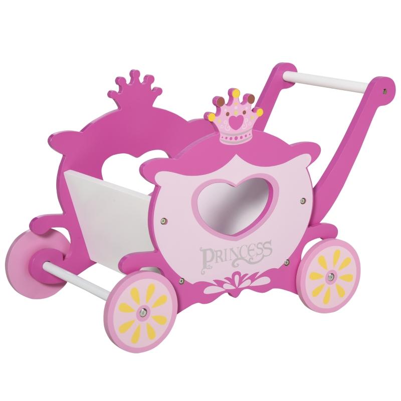 winkelwagen voor kinderen kinderspeelgoed houten hulpmiddel bij het leren lopen met opbergruimte roze